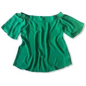 Another Story Emerald Green Off-Shoulder Top